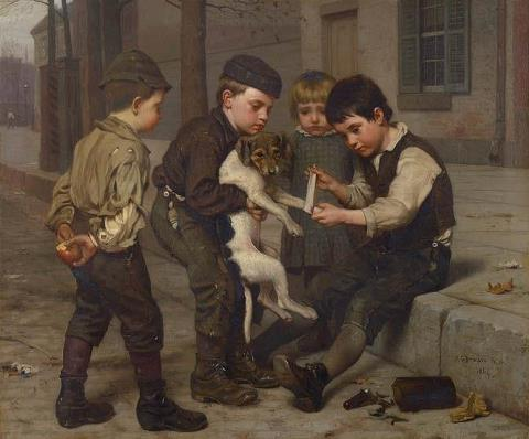 The Wounded Playfellow Curando al compañero de juegos lastimado, 1884 de John George Brown 1831-1913